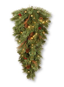 National Tree 36 Inch Glistening Pine Teardrop with Berries, Cones, Twigs and 50 Warm White Battery Operated LED Lights (GN19-300-36T-B1)