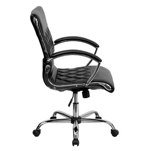 Mid-Back Designer Leather Executive Office Chair with Chrome Base