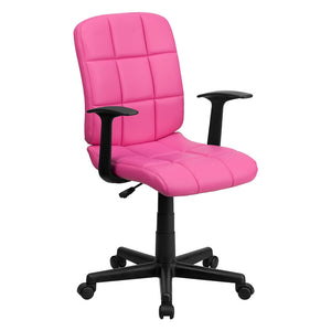 Flash Furniture Mid-Back Pink Quilted Vinyl Swivel Task Office Chair with Arms, BIFMA Certified