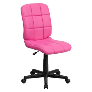 Flash Furniture Mid-Back Pink Quilted Vinyl Swivel Task Office Chair, BIFMA Certified