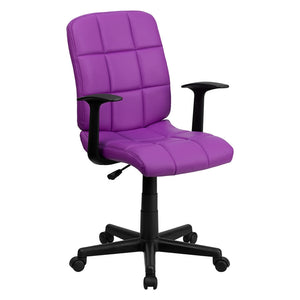 Flash Furniture Mid-Back Purple Quilted Vinyl Swivel Task Office Chair with Arms, BIFMA Certified