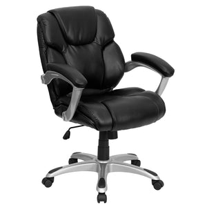 Flash Furniture Polyurethane Mid-Back Black Leather Office Task Chair