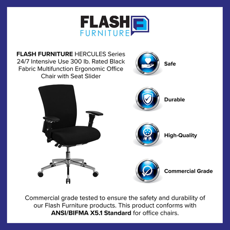 Flash Furniture Hercules Series Black Fabric Multifunction Ergonomic Office Chair with Seat Slider and Height Adjustable Arms