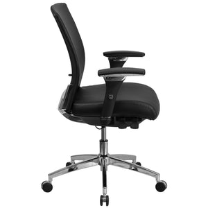 Flash Furniture HERCULES Series 24/7 Multi-Shift, 300 lb. Capacity Black Leather Multi-Functional Executive Swivel Chair with Seat Slider