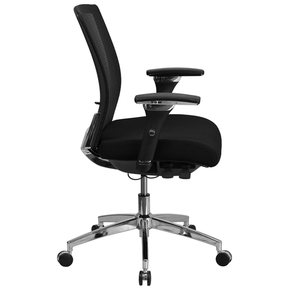 Flash Furniture HERCULES Series 24/7 Intensive Use 300 lb. Rated Black Mesh Multifunction Ergonomic Office Chair with Seat Slider, BIFMA Certified