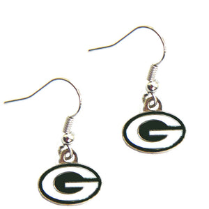 aminco Green Bay Packers Dangle 3/4 Inches Charm Earring Set