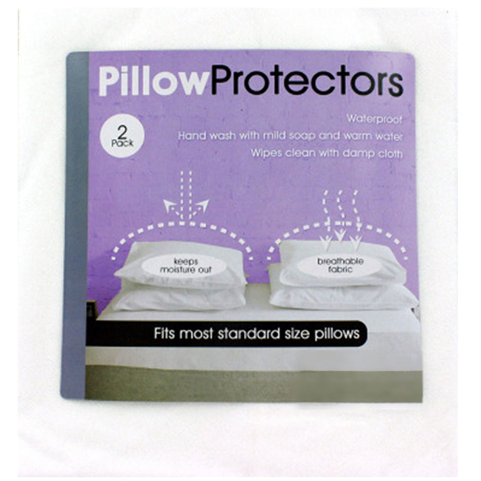 Bulk Buys Standard Size Synthetic Waterproof Pillow Protectors Package of 2 Case 24 White