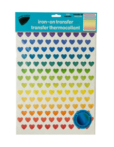 Iron-On Foil Rainbow Hearts Transfers Set-Package Quantity,24