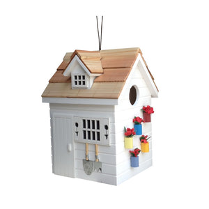 Home Bazaar Hand-Made Potting Shed White Bird House - Small Bird House - Home Decor
