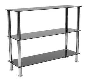 "Flash Furniture Riverside Collection 3 Shelf 31.5""H Glass Storage Display Unit Bookcase with Stainless Steel Frame in Black , One Size"