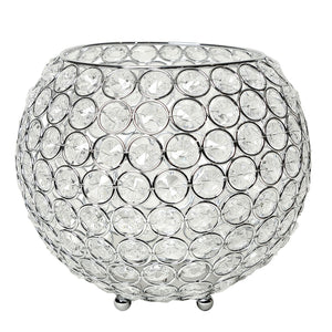 Elegant Designs Elipse Crystal Circular Bowl Candle Holder, Flower Vase, Wedding Centerpiece, Favor, Chrome