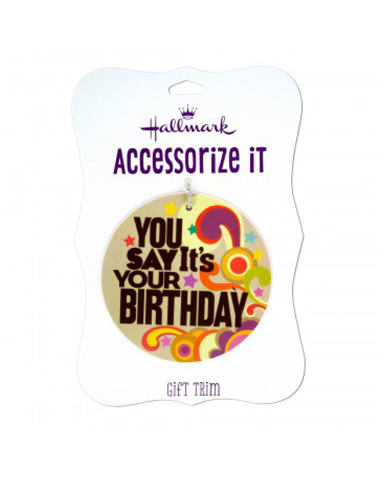 "Bulk Buys Retro Design ""You Say It's Your Birthday"" Gift Trim Tag with Metal Ball Chain - 36 Pack"