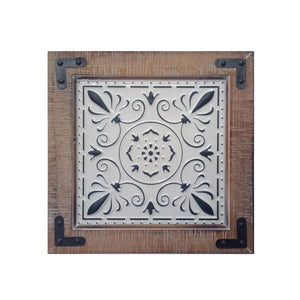 "TX USA Corporation 14"" Medallion Wood and Tin Wall Art with Keyhole Hangers - Multicolored"