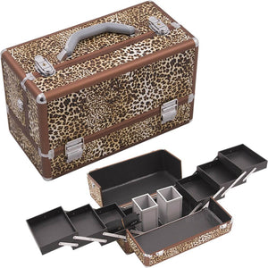 HIKER Makeup Case HK3201 Professional Artist, Two 3 Tier Trays and 2 Brush Holders, Locking and Shoulder Strap, Brown Leopard