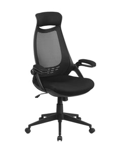 Flash Furniture High Back Black Mesh Executive Swivel Office Chair with Flip-Up Arms, BIFMA Certified