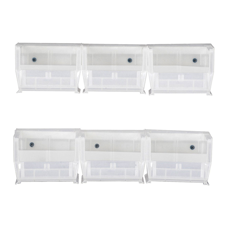 "Quantum Storage Systems HNS200CL Hang & Stack Bins, with Two 12"" Rails and Six Bins, 4-1/8"" W x 5"" D x 3"" H, Clear"