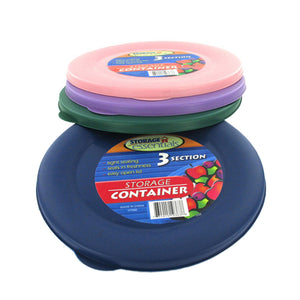 Three-Section Round Storage Container With Lid (Assorted Colors) - Pack of 24