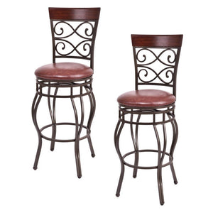 Costway Set of 2 Swivel Padded Bar Stools
