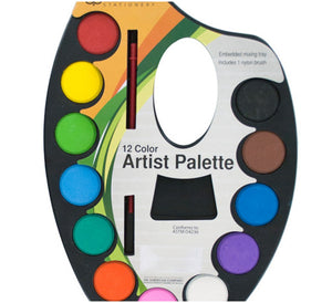 Watercolor Paint Artist Palette with Mixing Tray - 24 Pack