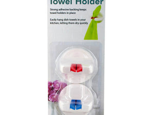"Handy Helpers 2""D Plastic Self-Adhesive Kitchen Towel Holder - Pack of 24 (2-Piece per Pack)"