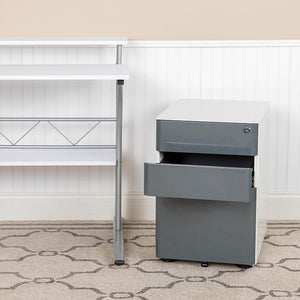 Flash Furniture Modern 3-Drawer Mobile Locking Filing Cabinet with Anti-Tilt Mechanism & Letter/Legal Drawer, White
