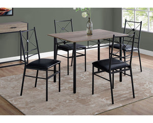 Monarch Specialties 5-Pc Dining Set in Dark Taupe and Black