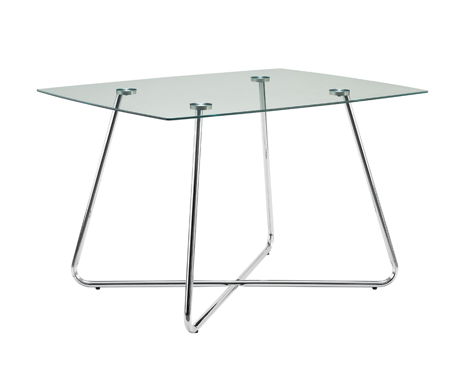 "Monarch Specialties , Dining Table Chrome Metal Tempered 40""L"