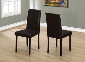 "2 Piece Dining Chair - 36""H Dark Brown Leather  Look"