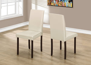 "2 Piece Dining Chair - 36""H Ivory Leather  Look"