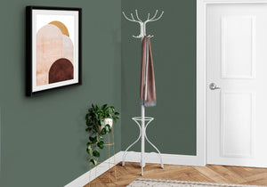 "Coat Rack 70""H - White Metal With An Umbrella Holder"