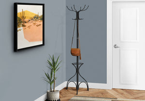 "Coat Rack 70""H - Black Metal With An Umbrella Holder"