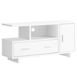 Monarch Specialties I STAND-48 L Storage TV Stand, white