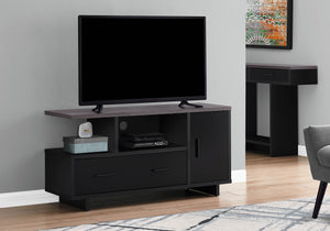 Monarch Specialties I STAND-48 L Grey TOP with Storage TV Stand, black