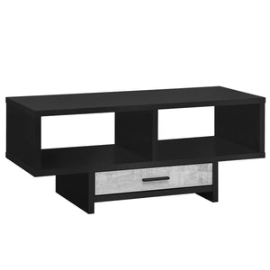 "Monarch Specialties Drawer & Shelves Rectangular Cocktail Accent Coffee Table, 43"" L, Black/Grey Reclaimed Wood Look"