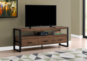 "Monarch Specialties TV Stand-Console with 3 Drawers and Shelves-Industrial Modern Style Entertainment Center with Metal Legs, 60"" L, Brown Reclaimed Wood Look"