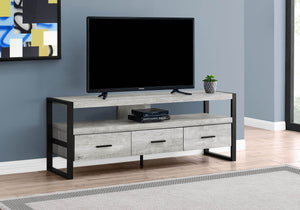 "Monarch Specialties TV Stand-Console with 3 Drawers and Shelves-Industrial Modern Style Entertainment Center with Metal Legs, 60"" L, Grey Reclaimed Wood Look"