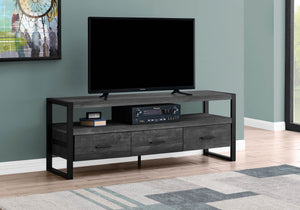 "Monarch Specialties TV Stand-Console with 3 Drawers and Shelves-Industrial Modern Style Entertainment Center with Metal Legs, 60"" L, Black Reclaimed Wood Look"