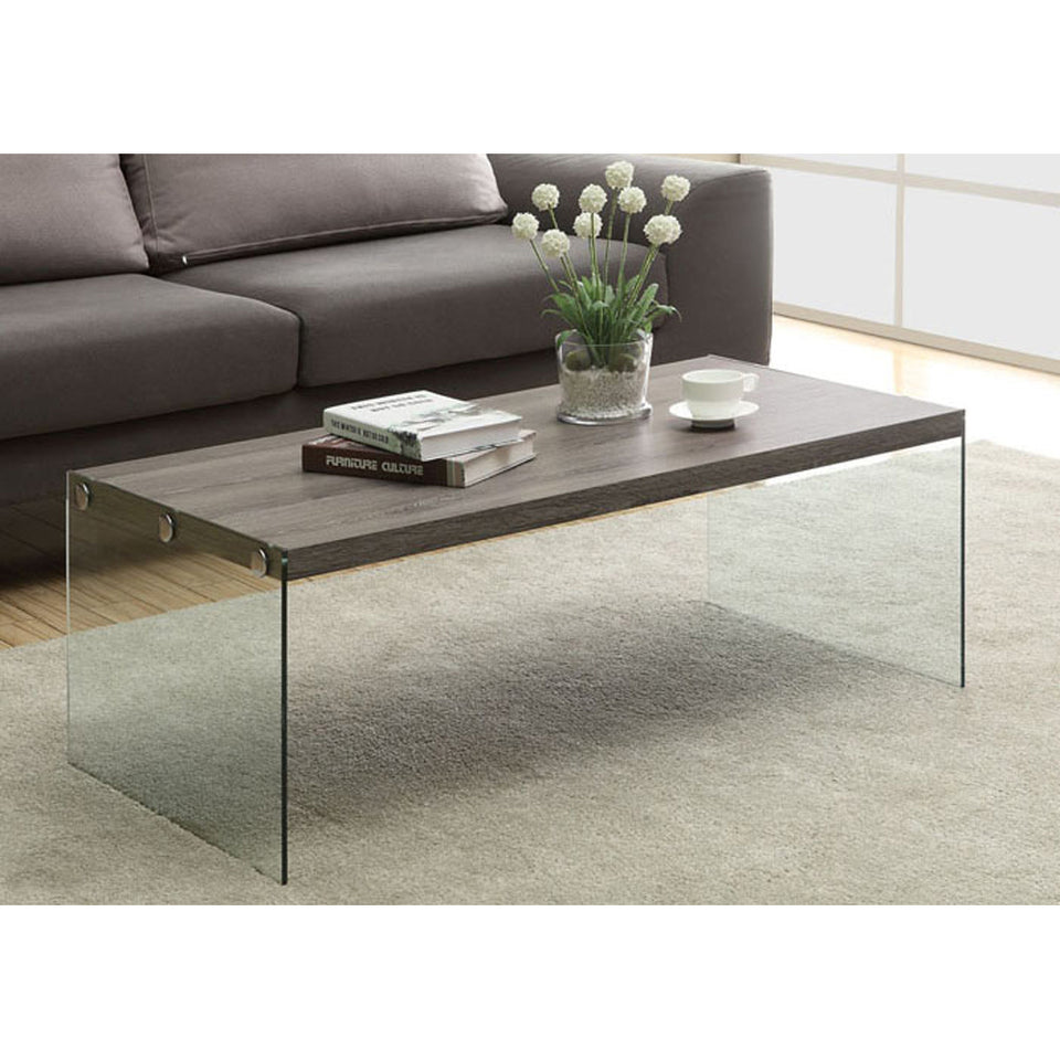 "Monarch specialties , Coffee Table, Tempered Glass, Dark Taupe, 44""L"