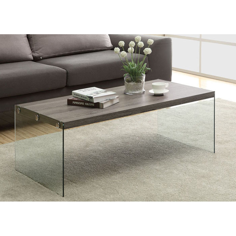 Monarch specialties , Coffee Table, Tempered Glass, Dark Taupe, 44