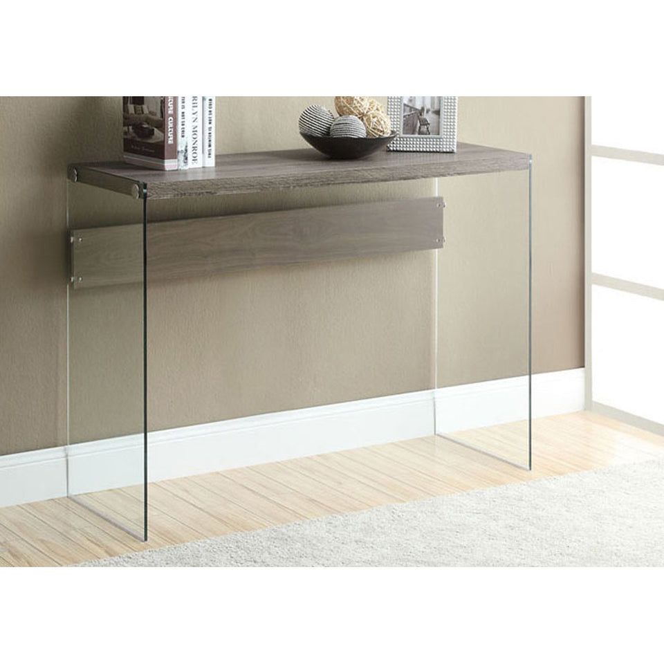 "Monarch specialties , Console Sofa Table, Tempered Glass, Dark Taupe, 44""L"
