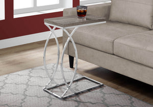 Monarch Specialties Accent Table in Dark Taupe and Chrome Finish