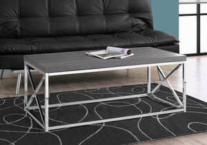 Monarch Specialties Modern Coffee Table for Living Room Center Table with Metal Frame, 44 Inch L, Grey / Chrome