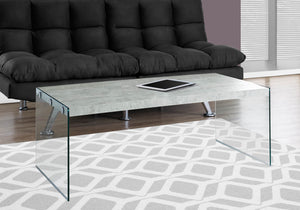 "Monarch specialties , Coffee Table, Tempered Glass, Grey Cement, 44""L"