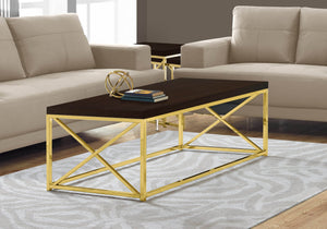 Monarch Specialties Modern Coffee Table for Living Room Center Table with Metal Frame, 44 Inch L, Cappuccino / Gold