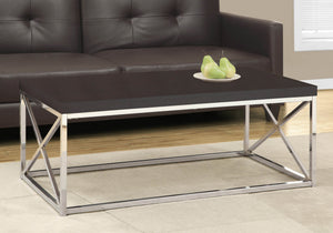 Monarch Specialties Modern Coffee Table for Living Room Center Table with Metal Frame, 44 Inch L, Cappuccino / Chrome