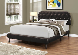 Monarch Specialties Queen Size/Brown Leather-Look with Wood Legs Bed