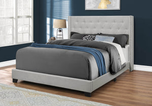 Monarch Specialties I Size/Light Grey Velvet with Chrome Trim Queen Bed,