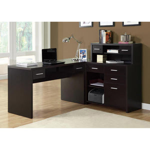 "Monarch Specialties Computer Desk L-Shaped - Left or Right Set- Up - Corner Desk with Hutch 60""L  (Cappuccino)"