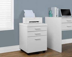 Filing Cabinet 3 Drawer - White On Castors