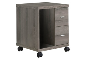 Monarch Specialties I Reclaimed-Look 2 Drawer Computer Stand/Castor, Dark Taupe